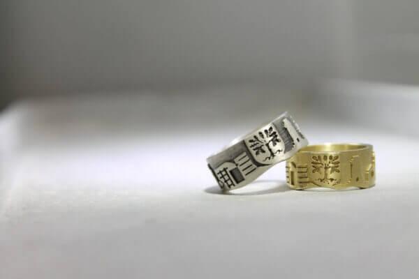 Hagen Ring in Gold und Silber mit Wapen der Stadt Hagen