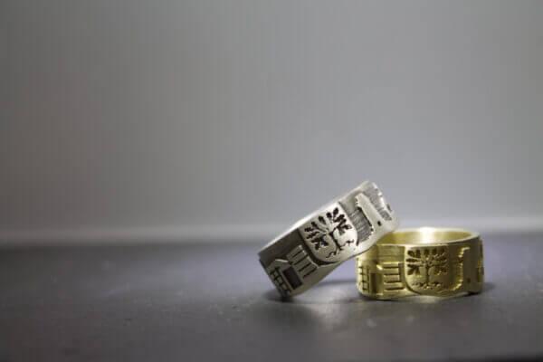 Hagen Ring in Gold und Weißgold mit Wapen der Stadt Hagen