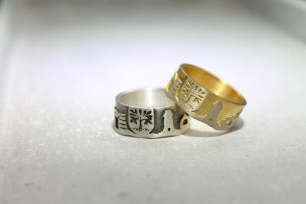 Hagen Ring in Silber und Gold mit Wapen der Stadt Hagen