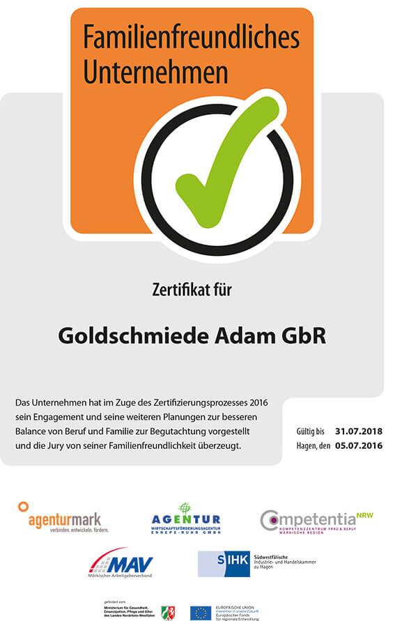 Zertifikat Familienfreundliches Unternehmen 2016-2018