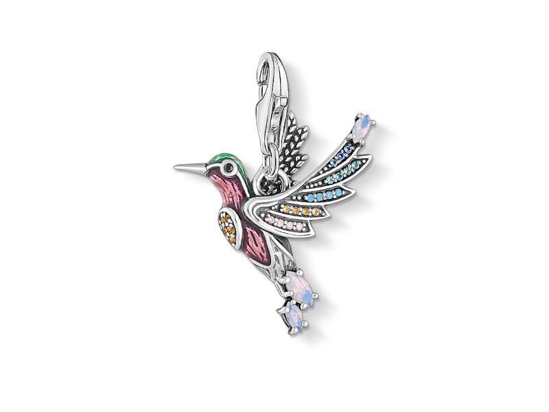 Charm-Anhänger Bunter Kolibri silber