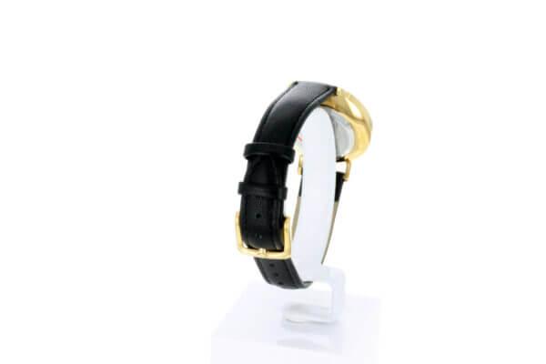 Hagen Uhr HagenUhr32LBS mit vergoldetem Edelstahlgehäuse in 32mm Durchmesser mit schwarzem Lederarmband - Seitliche Totale mit Dtails zum Armband
