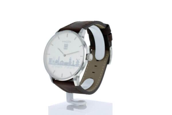 Hagen Uhr mit Lederarmband (schwarz) und ⌀ 40mm