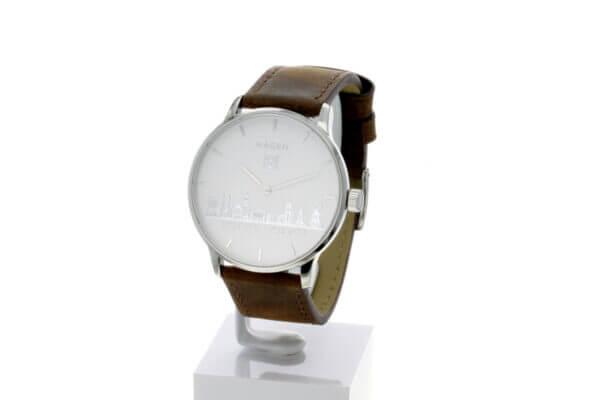 Hagen Uhr HagenUhr43LBB mit Edelstahlgehäuse und braunem Naturlederarmband