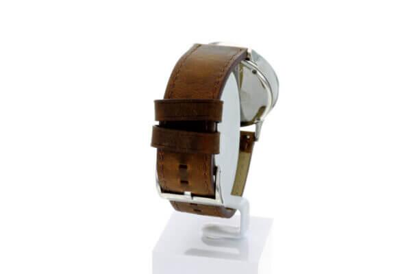 Hagen Uhr HagenUhr43LBB mit Edelstahlgehäuse und braunem Naturlederarmband - Hintere Ansicht mit Details zur Schließe