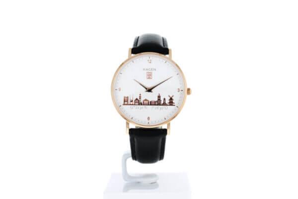 Hagen Uhr in der Ziffernblattansicht - Roségold vergoldet in 36mm Durchmesser mit schwarzem Lederarmband