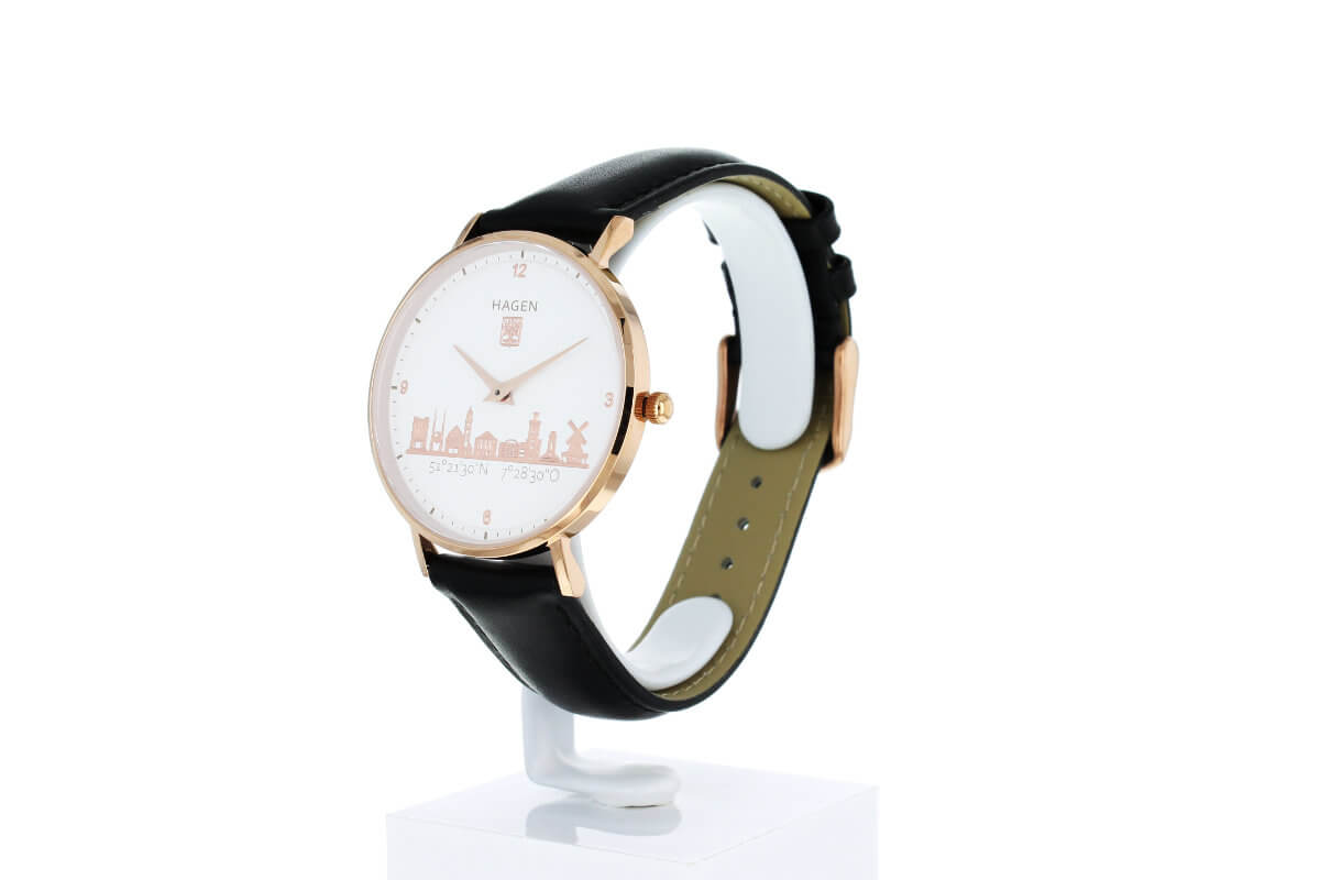 Hagen Uhr in der Ziffernblattansicht - Roségold vergoldet in 36mm Durchmesser mit schwarzem Lederarmband - seitlich rechts