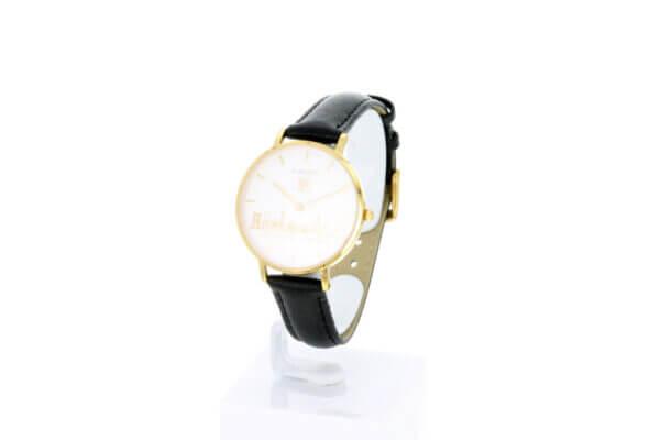 Hagen Uhr HagenUhr32LBS mit vergoldetem Gehäuse in 32mm Durchmesser mit schwarzem Lederarmband