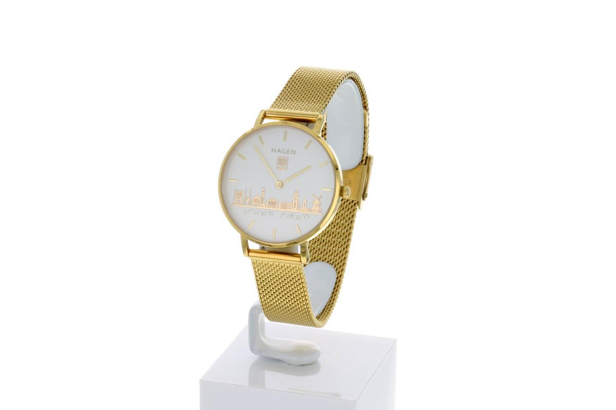 Hagen Uhr HagenUhr32MBG32mm Edelstahlgehäuse vergoldet mit Melanise Armband in 32mm Druchmesser - Ansicht seitlich von Vorn mit sichtbarem Ziffern