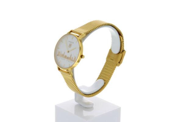 Hagen Uhr HagenUhr32MBG32mm Edelstahlgehäuse vergoldet mit Melanise Armband in 32mm Druchmesser - Ansicht seitlich mit sichtbarem Ziffern