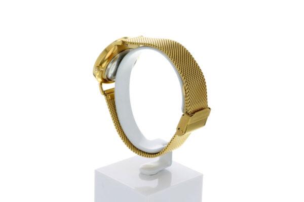 Hagen Uhr HagenUhr32MBG32mm Edelstahlgehäuse vergoldet mit Melanise Armband in 32mm Druchmesser - Ansicht von hinten rechts