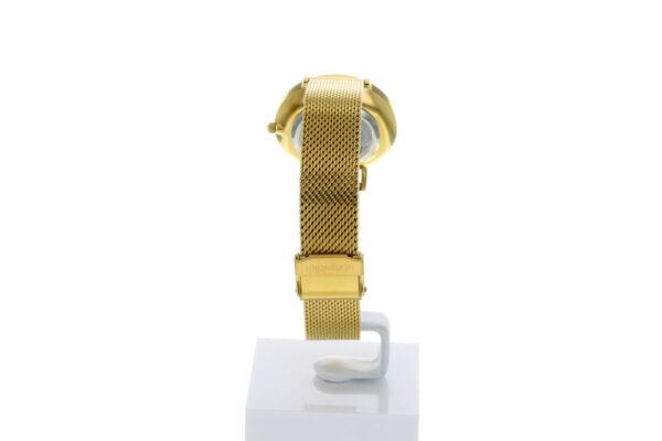Hagen Uhr HagenUhr32MBG32mm Edelstahlgehäuse vergoldet mit Melanise Armband in 32mm Druchmesser - Ansicht von hinten - Schließe ist zu sehen