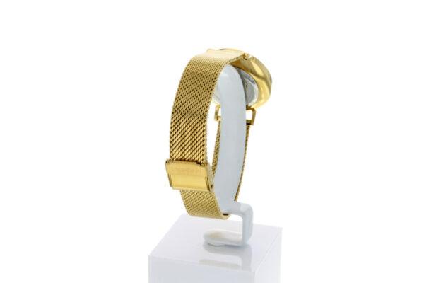 Hagen Uhr HagenUhr32MBG32mm Edelstahlgehäuse vergoldet mit Melanise Armband in 32mm Druchmesser - Ansicht von hinten