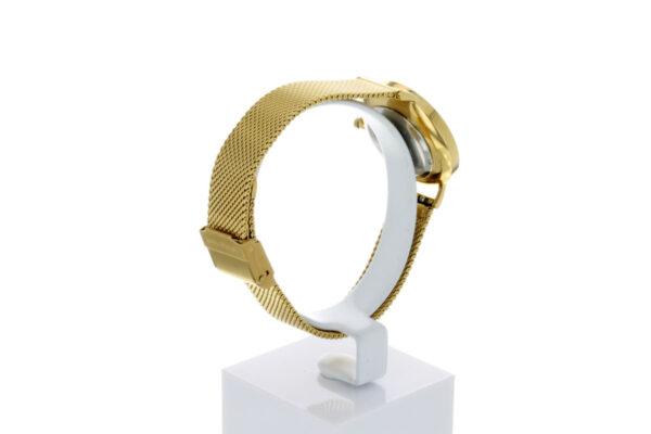 Hagen Uhr HagenUhr32MBG32mm Edelstahlgehäuse vergoldet mit Melanise Armband in 32mm Druchmesser - Ansicht von hinten links
