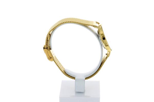 Hagen Uhr HagenUhr32MBG32mm Edelstahlgehäuse vergoldet mit Melanise Armband in 32mm Druchmesser - Ansicht seitlich links