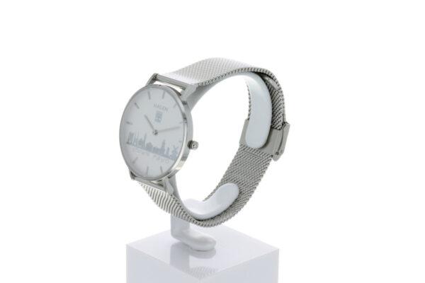 Hagen Uhr HagenUhr36MB in Edelstahloptik in 36mm Durchmesser mit Milanese Armband - Seitliche Ansicht