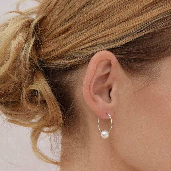 eva strepp Ohrring aus 925 Silber mit weißer Perle