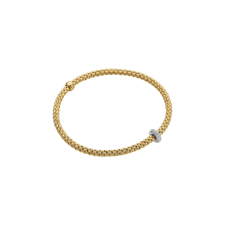 FOPE flexibles Armband aus der Kollektion PRIMA in Gold mit Brillanten - Seitenansicht